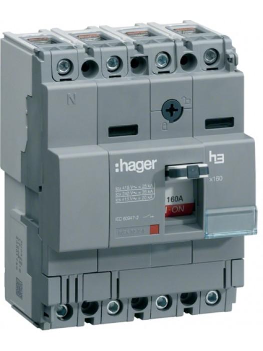 Корпусный автомат на 100А 4P 18кА (Hager HDA101L)