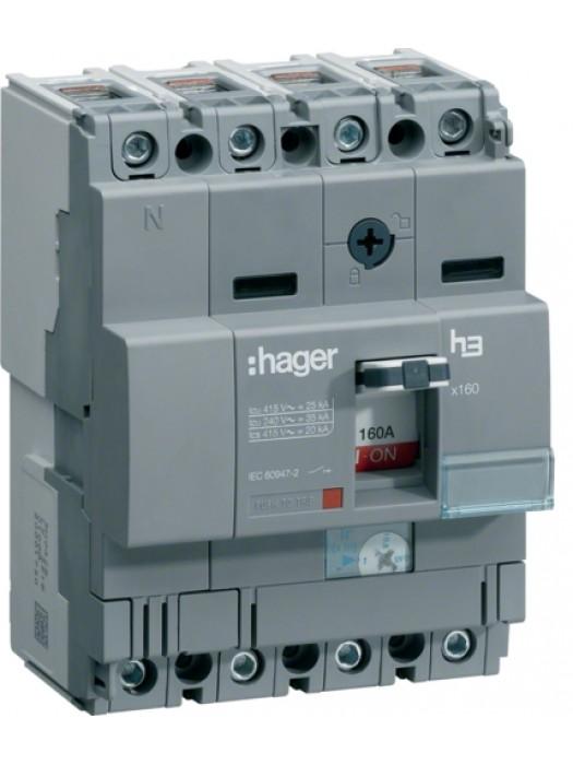Корпусный автомат на 160А 4P 25кА (Hager HHA161H)