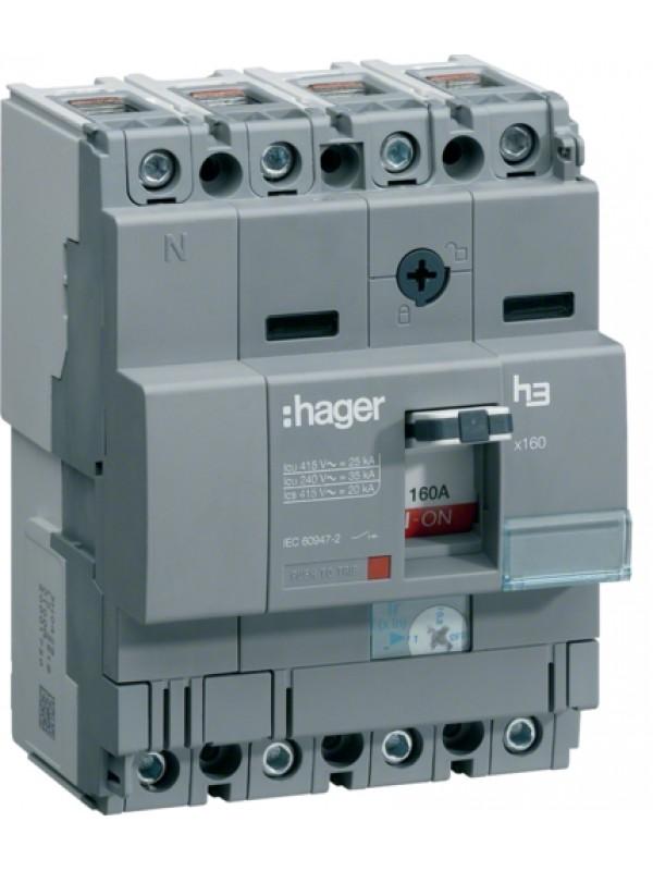 Корпусный автомат на 100А 4P 25кА (Hager HHA101H)
