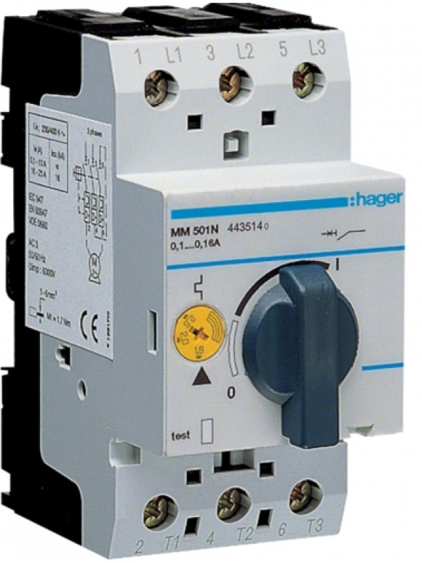 Автомат защиты электродвигателей 0,1-0,16А (Hager MM501N)