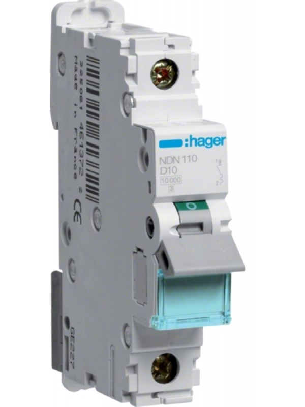 Автомат на 10А 1P 10кА класс D (Hager NDN110)