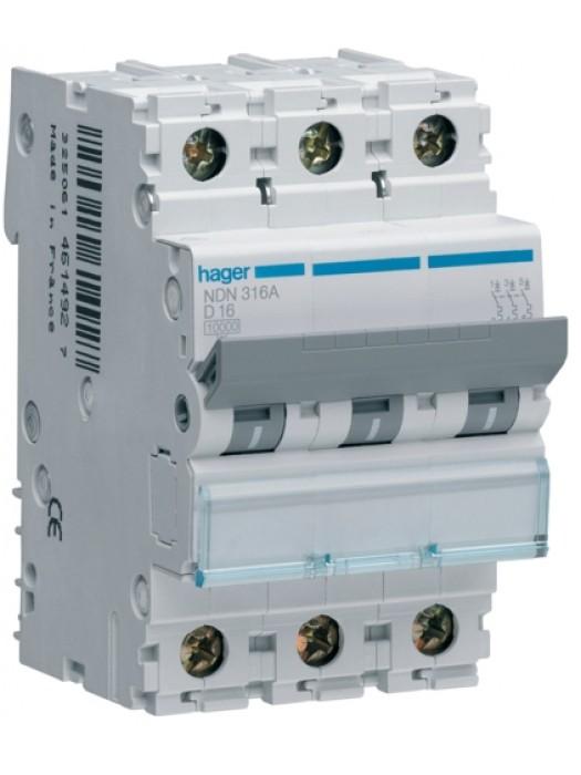 Автомат на 3А 3P 10кА класс D (Hager NDN303)