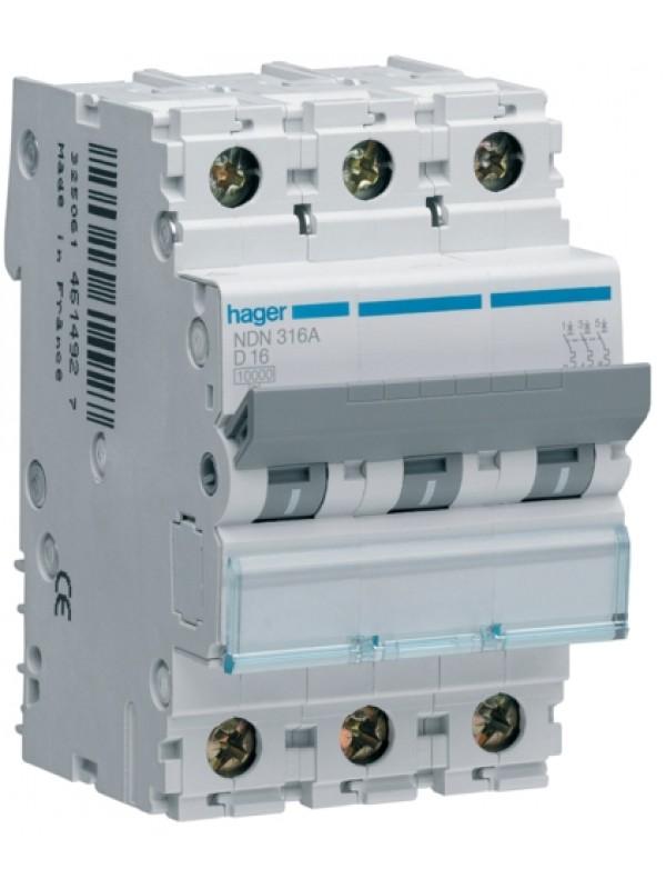 Автомат на 10А 3P 10кА класс D (Hager NDN310)