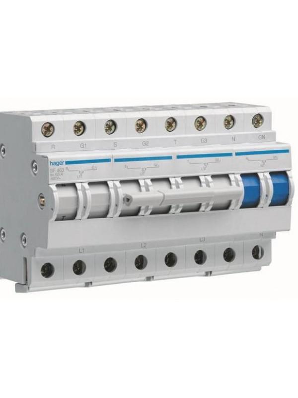 Переключатель I-0-II ввода резерва 63А (Hager SF463)