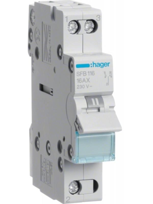Переключатель I-0-II 16А выход снизу (Hager SFB116)