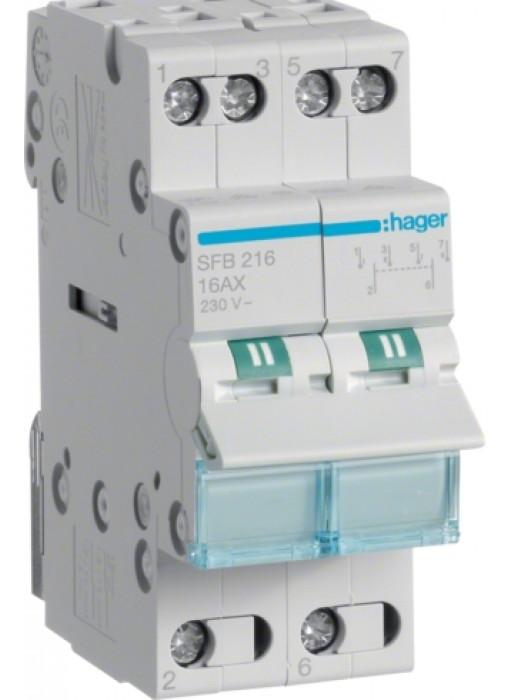 Переключатель I-0-II 16А выход снизу (Hager SFB216)