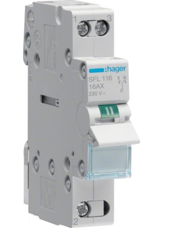 Переключатель I-II 16А выход снизу (Hager SFL116)