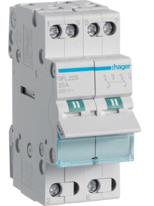 Переключатель I-II 16А выход снизу (Hager SFL216)