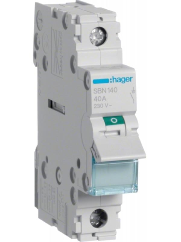 Выключатель на 40А 1P (Hager SBN140)