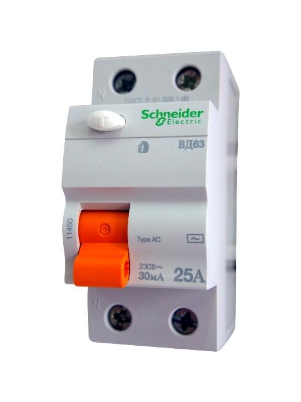 УЗО на 25А 2N 30mA тип АС (Schneider 11450)