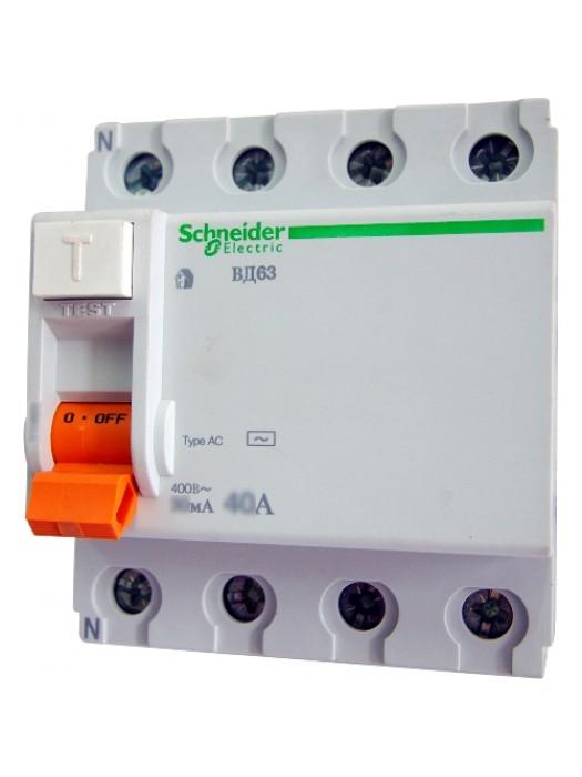 УЗО на 63А 4N 100mA тип АС (Schneider 11467)