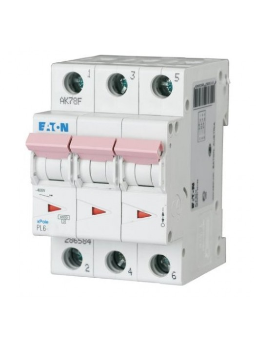 Автомат на 10А 3P 6кА класс B (Eaton PL6 286587)