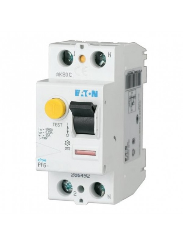 УЗО на 25А 2N 100mA тип АС 6кА (Eaton PF6 286493)