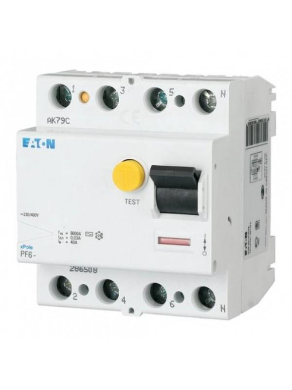 УЗО на 63А 4N 30mA тип АС 6кА (Eaton PF6 286512)