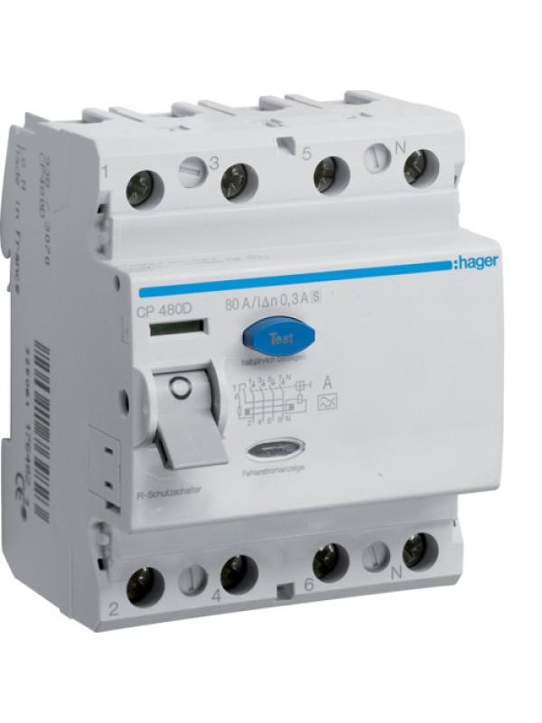 УЗО класс S на 80А 4P 300mA (Hager CP480D)