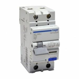 Дифавтомат 10А 1P+N 30mA C (Hager AD960J)