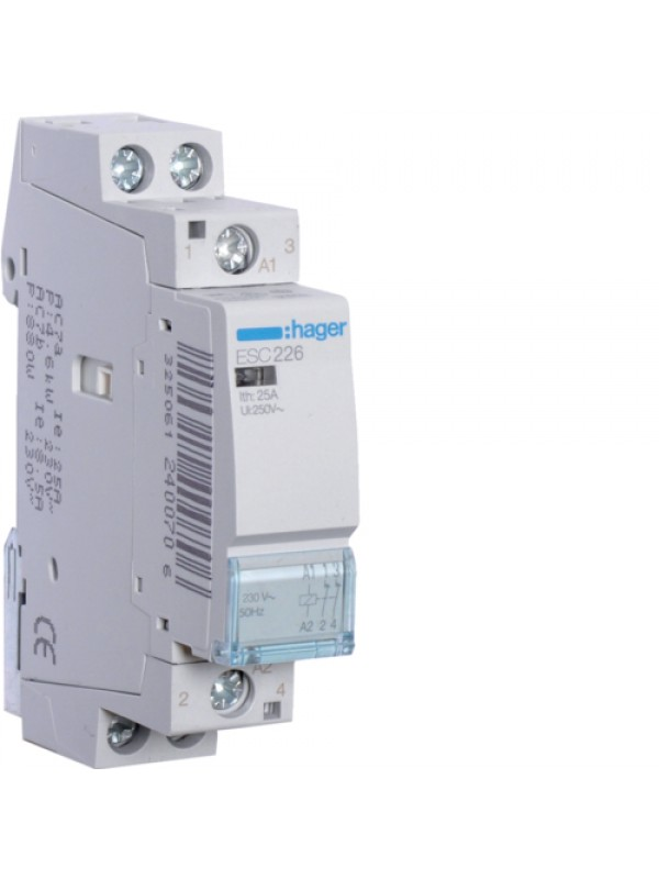 Контактор напряжением 24В на 25A 2НЗ (Hager ESD226)