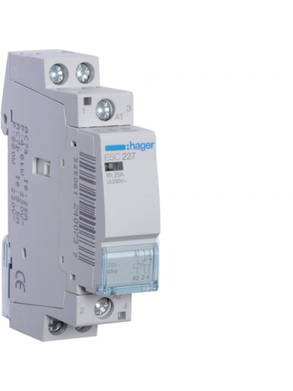 Контактор 25A/230В 1НО+1НЗ (Hager ESC227)