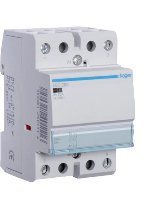 Контактор напряжением 24В на 63A 2НО (Hager ESD263)