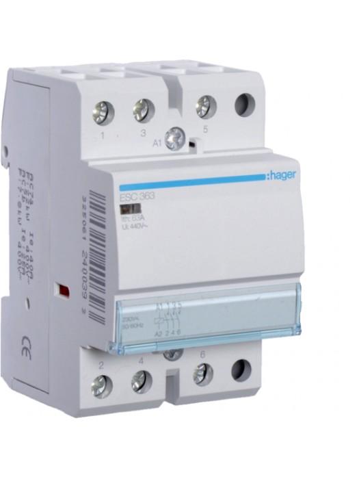Контактор 63A/230В 3НО (Hager ESC363)