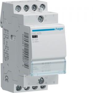 Контактор напряжением 24В на 25A 4НО (Hager ESD425)