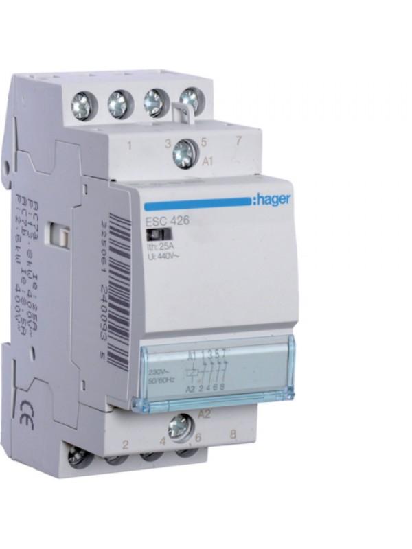 Контактор напряжением 24В на 25A 4НЗ (Hager ESD426)