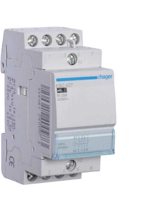 Контактор напряжением 24В на 25A 2НО+2НЗ (Hager ESD427)