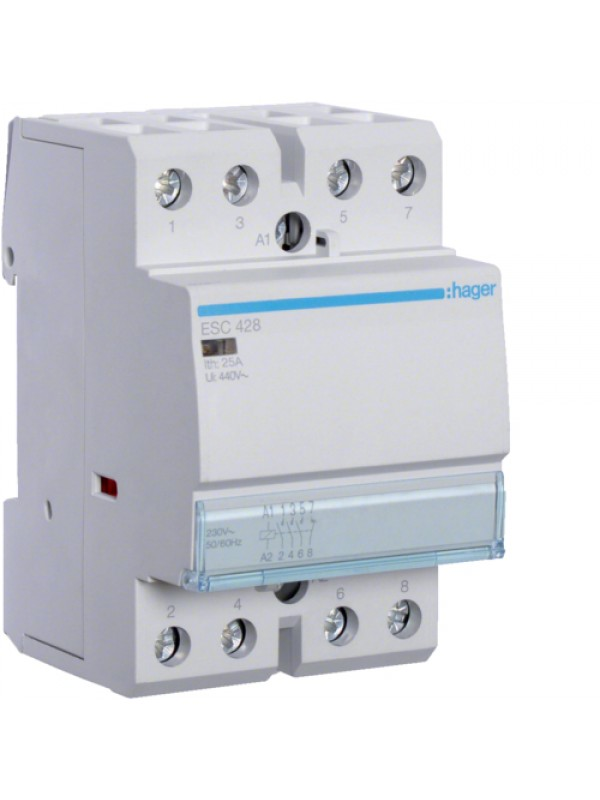 Контактор напряжением 24В на 25A 3НО+1НЗ (Hager ESD428)