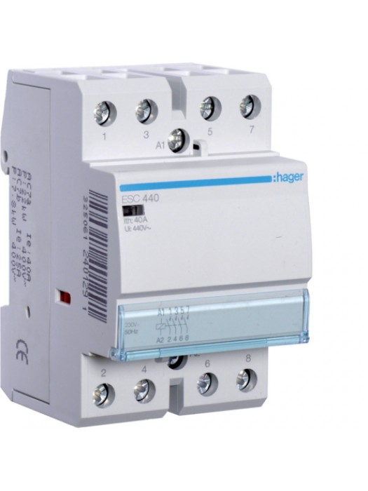 Контактор напряжением 24В на 40A 4НО (Hager ESD440)