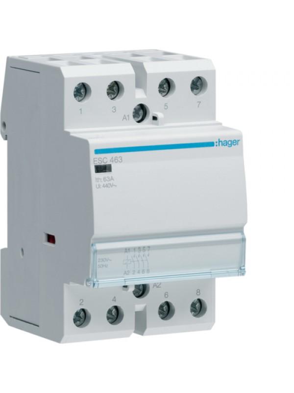 Контактор напряжением 24В на 63A 4НО (Hager ESD463)