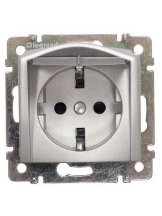 Розетка электрическая с заземлением и крышкой Valena (Legrand 770122)