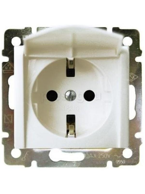 Розетка электрическая с заземлением и крышкой Valena (Legrand 774422)