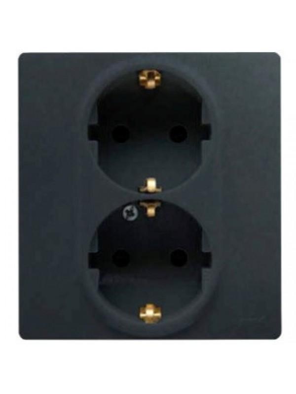 Розетка электрическая двойная с заземлением и шторками (Legrand 672633)