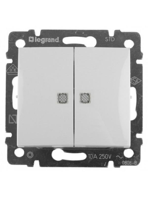 Выключатель двухклавишный с подсветкой Valena (Legrand 774428)