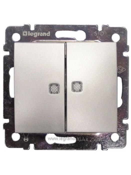 Выключатель двухклавишный с подсветкой Valena (Legrand 770128)