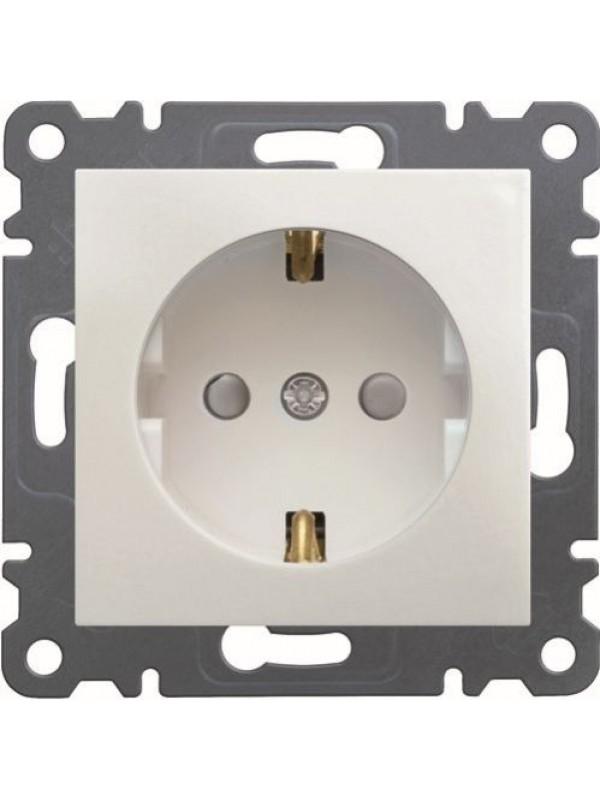 Розетка электрическая, заземление + шторки Lumina 2 (Hager WL1060)