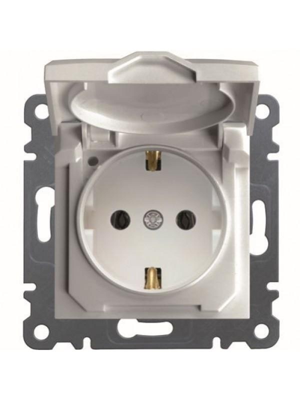 Розетка электрическая с крышкой и заземлением Lumina 2 (Hager WL1150)