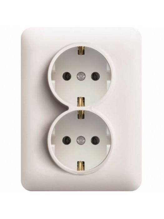 Розетка электрическая двойная с заземлением Lumina 2 (Hager WL1250)