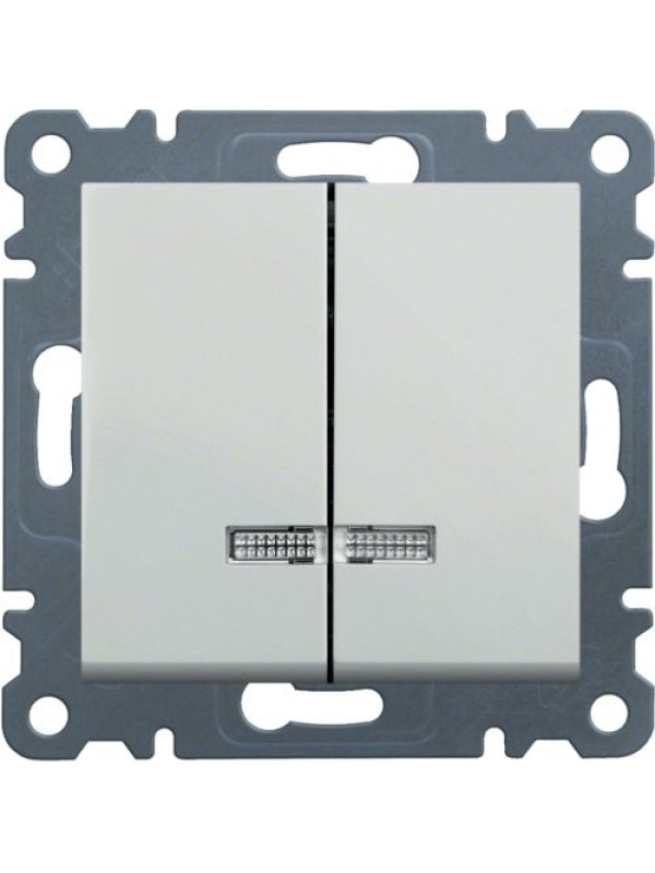 Выключатель двухклавишный с подсветкой Lumina 2 (Hager WL0240)