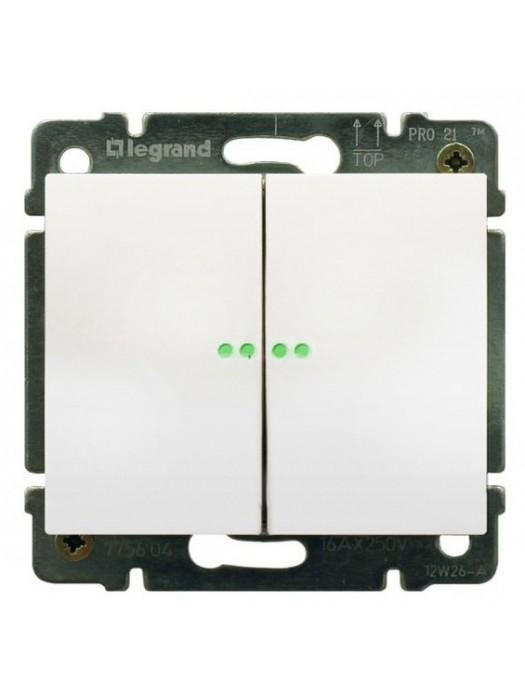 Выключатель проходной 2-кл с подсветкой Galea (Legrand 775608+777013)
