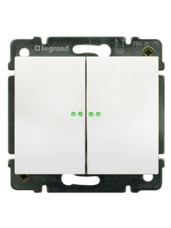 Выключатель двухклавишный с подсветкой Galea (Legrand 775825+777013)