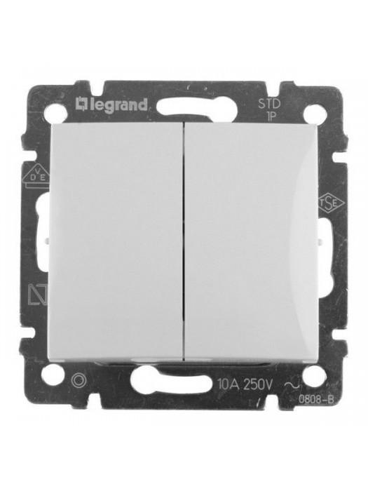 Выключатель кнопочный двухклавишный Valena (Legrand 774218)