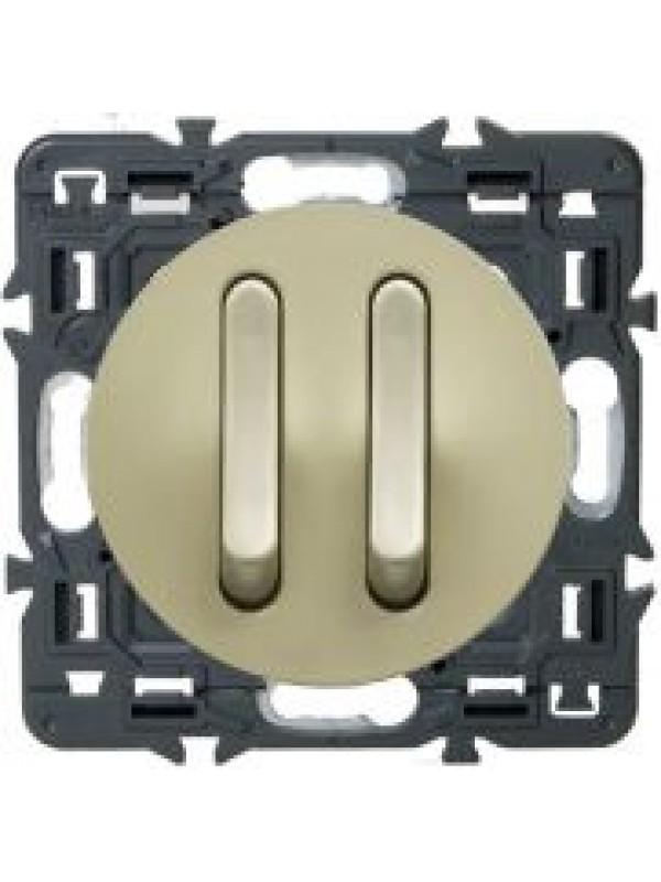 Выключатель двух-клав. бесшумный Celiane (Legrand 67013+66207)