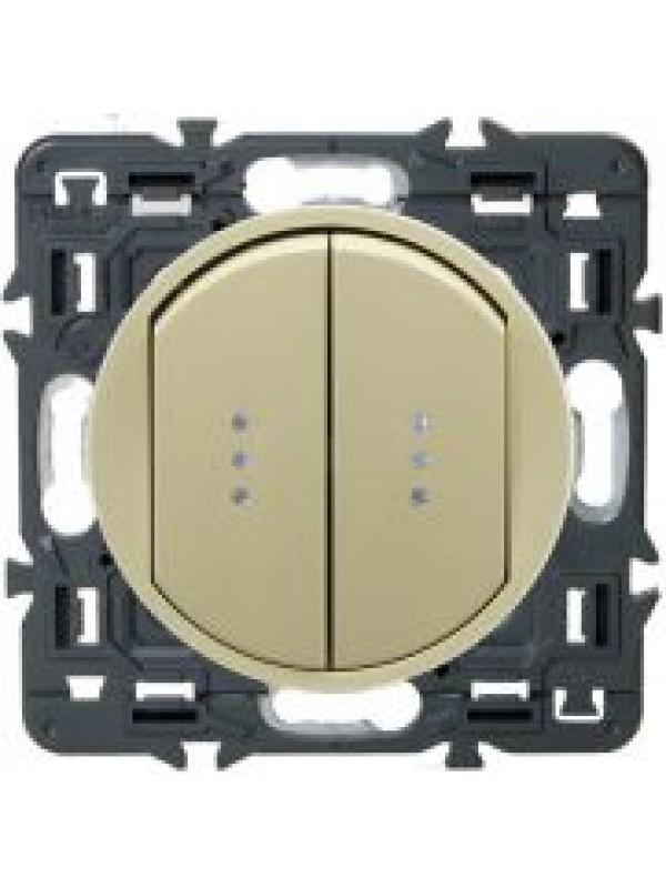 Выключатель двух-клав. Celiane (Legrand 67001+66211)