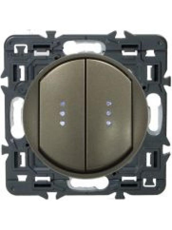 Выключатель двух-клав. Celiane (Legrand 67001+64911)