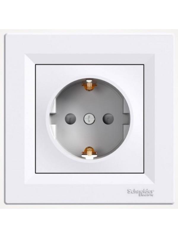 Розетка электрическая с заземлением и шторками Asfora (Schneider EPH2900221)