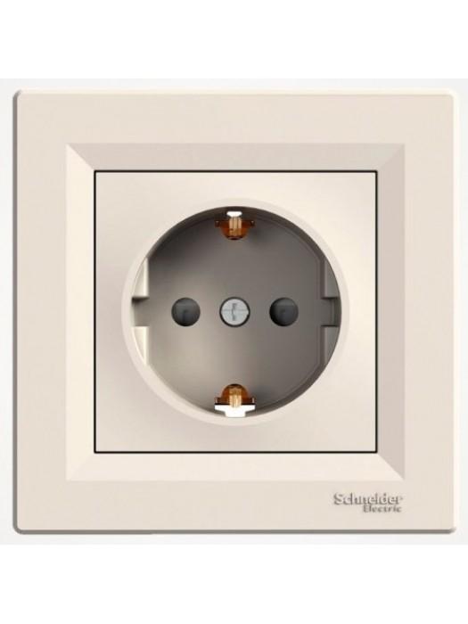 Розетка электрическая с заземлением и шторками Asfora (Schneider EPH2900223)