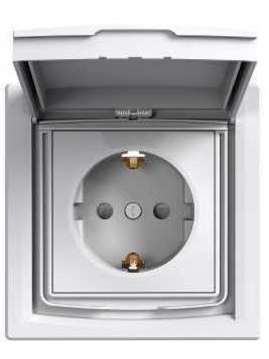 Розетка электрическая с крышкой IP44 Asfora (Schneider EPH3100321)