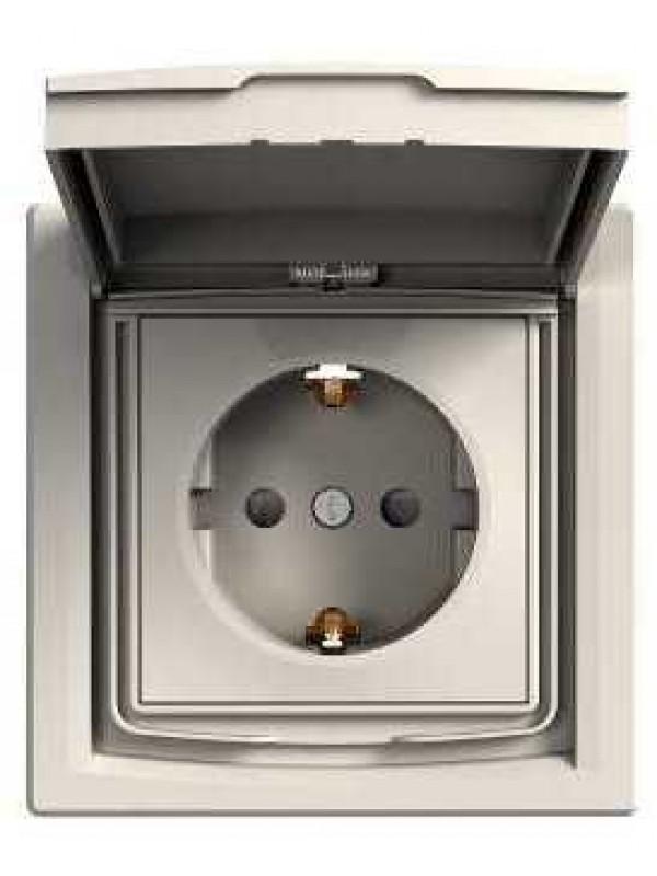 Розетка электрическая с крышкой IP44 Asfora (Schneider EPH3100323)